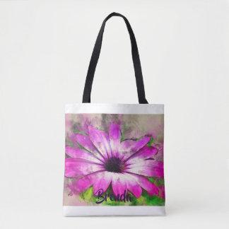 Lila Aster-Blumepersonalisierte Watercolor-Tasche Tasche