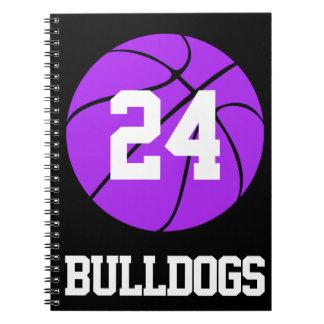 Lila Basketball Student-Athlet Name und Zahl Notizblock