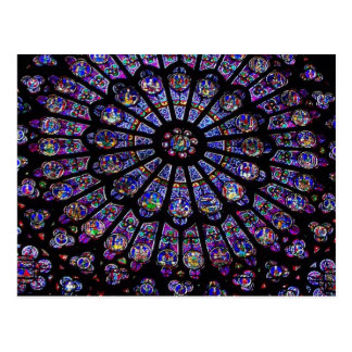 Lila beflecktes Glas-Kirchen-Fenster Postkarte
