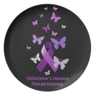 Lila Bewusstseins-Band: Alzheimerkrankheit Melaminteller
