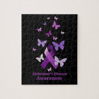 Lila Bewusstseins-Band: Alzheimerkrankheit Puzzle