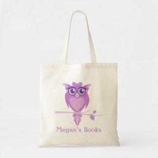 Lila Bibliothekstasche der niedlichen Eulenmädchen Budget Stoffbeutel