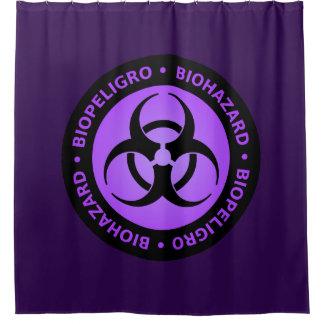 Lila Biogefährdung-Warnzeichen Duschvorhang