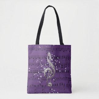 Lila Blatt-Musik-Silberdreifacher Clef u. Confetti Tasche
