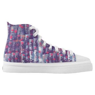 lila Blattdruck Hoch-geschnittene Sneaker