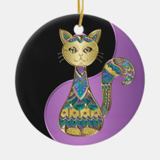 Lila Blau und Goldc$yin-Yang Keramik Ornament