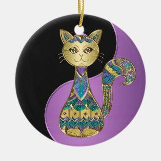 Lila Blau und Goldc$yin-Yang Rundes Keramik Ornament
