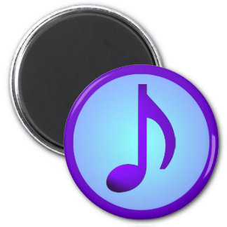 Lila blaue elegante Musik-Anmerkung Runder Magnet 5,7 Cm