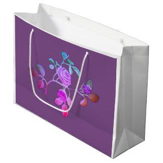 Lila blaue Rosen-Papiertasche Große Geschenktüte