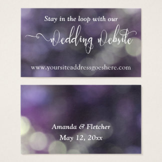 Lila blaue Wedding Website-Adresse Bokeh Licht-32 Visitenkarte