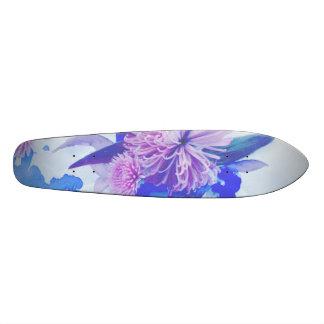 Lila, blaues u. aquamarines BlumendruckLongboard 20,1 Cm Skateboard Deck