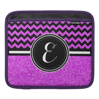 Lila Bling Glitter und Zickzack personalisierter iPad Sleeve