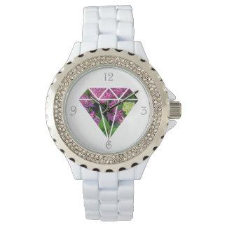 lila Blume des eleganten modernen Diamanten bunt Armbanduhr