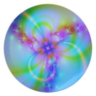 Lila Blume im Blau Melaminteller