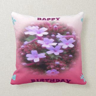 Lila Blumen-alles- Gute zum Geburtstagkissen Kissen