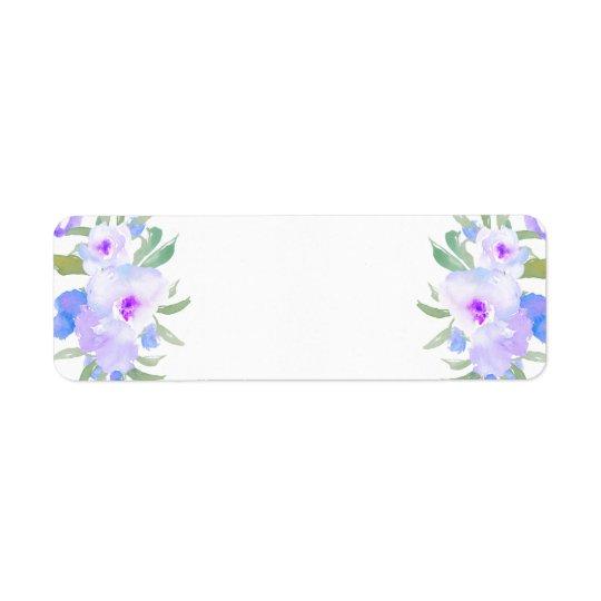 lila Blumen des Watercolor Kleiner Adressaufkleber