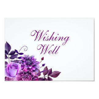 Lila Blumen, die gut wünschen. Wedding Karte