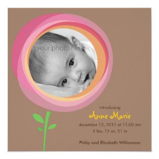 Lila Blumen-Geburts-Mitteilung Quadratische 13,3 Cm Einladungskarte