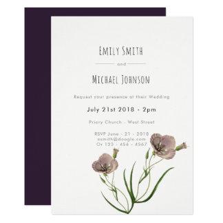 Lila Blumen-Hochzeits-Einladungen Karte