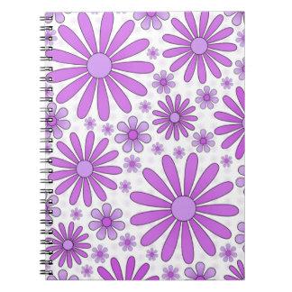 Lila Blumen-Power-Notizbuch im Weiß Notizblock