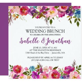 Lila Blumen-Sommer-Hochzeitbrunch-Einladungen Karte