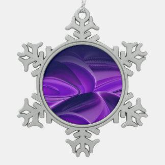 Lila Blumen-Traum Schneeflocken Zinn-Ornament