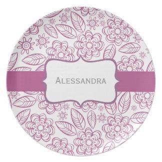 lila Blumen u. Blätter auf Weiß mit Aufkleber Flache Teller