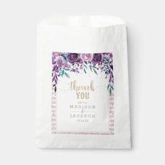 Lila Blumenchampagne-Goldhochzeit danken Ihnen Geschenktütchen