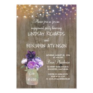 Lila Blumenmaurer-Glas-rustikales Verlobungs-Party 12,7 X 17,8 Cm Einladungskarte