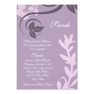lila Blumenpolkapunkt 12,7 X 17,8 Cm Einladungskarte