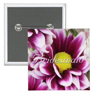 Lila Blumenstrauß-Brautjungfer Quadratischer Button 5,1 Cm