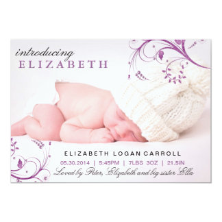 Lila Blumenstrudel-Geburts-Mitteilung 12,7 X 17,8 Cm Einladungskarte