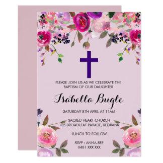 Lila Blumentaufe-/Christening-Einladungs-Mädchen Karte