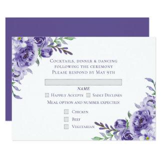 Lila Blumenwatercolor-Hochzeit UAWG Zutritt Karte
