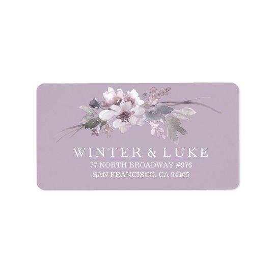 Lila Blumenwatercolor-Hochzeits-Adressen-Etikett Adressaufkleber