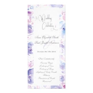 Lila Blumenwatercolor-Hochzeits-Programm Werbekarten