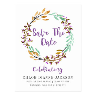 Lila Blumenwreath-Save the Date Abschluss Postkarte