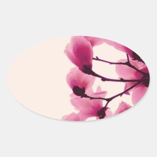 Lila Blüten Ovaler Aufkleber