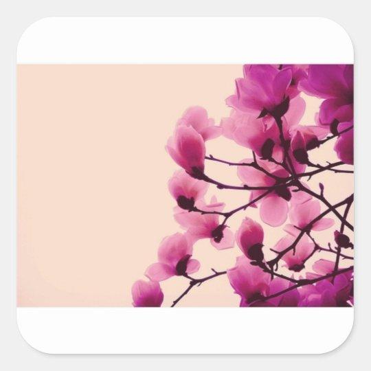 Lila Blüten Quadratischer Aufkleber