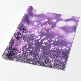 Lila Bokeh Imitat-Glitter u. Sterne Geschenkpapier