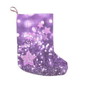 Lila Bokeh Imitat-Glitter u. Sterne Kleiner Weihnachtsstrumpf