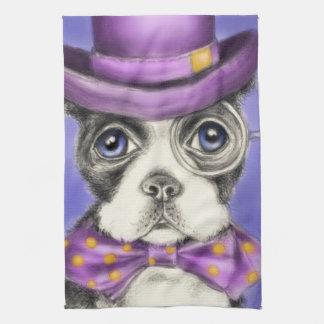 Lila Boston-Terrier-Detektiv Handtuch