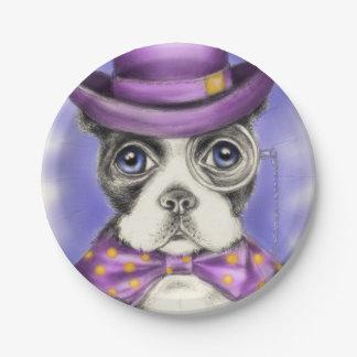 Lila Boston-Terrier-Detektiv Pappteller