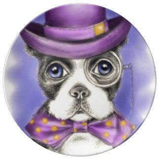 Lila Boston-Terrier-Detektiv Porzellanteller