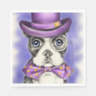 Lila Boston-Terrier-Detektiv Serviette