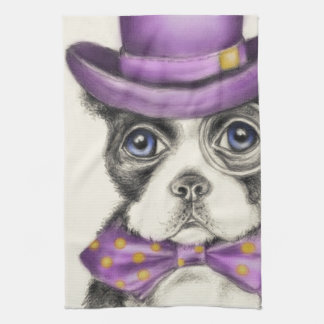 Lila Boston-Terrier Geschirrtuch