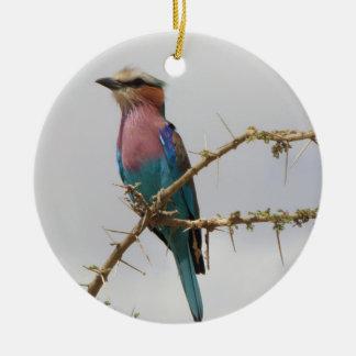 Lila Breasted Rollen-Feiertags-Verzierung Rundes Keramik Ornament