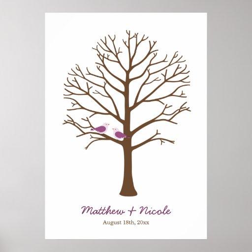 Lila Brown-Vogel-Fingerabdruck-Baum-Hochzeit Poster