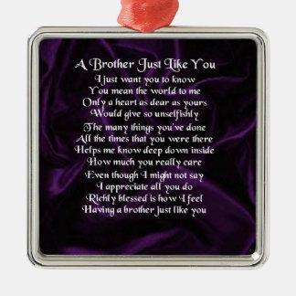 Lila Bruder-Gedicht Quadratisches Silberfarbenes Ornament