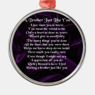 Lila Bruder-Gedicht Rundes Silberfarbenes Ornament